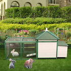 Wooden Chicken Coop w/ Backyard Run and Nesting Box Hen House Poultry Pet