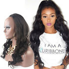 Glueless 3/4Half Wig 100% brazilian Human Hair Half Wig  Body Wave Hair Weft Cap