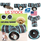 Cat Pet Toys Products 3 Holes Kitten Foldable Funny Play Game Tunnel Supplies
