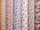 SMALL Floral POLYCOTTON DITSY Fabric Material CRAFTS Roses PINK PURPLE