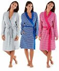 Ladies Robe Jersey Yarn Dyed 100% Cotton Striped Lightweight Soft Dressing Gowns