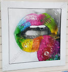 Murciano multi-coloured lips with strawberry crystals, shimmer & white frame