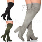 WOMENS LADIES BLOCK HIGH HEEL LACE UP ZIP OVER KNEE THIGH HIGH BOOTS SIZE
