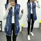 Casual Women Sleeveless Blue Denim Vest Jean Jacket Waistcoat Tunic Long Coat