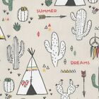 Cherokee Village - Main -  Beige - Cotton Fabric Children Nursery Boys Fun