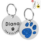 Dog Tags Personalized Cat Puppy Pet ID Name Collar Tag Paw Glitter Engraved Free