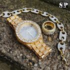 MEN HIP HOP ICED OUT LAB DIAMOND WATCH & RING & GUCCI CHAIN BRACELET COMBO SET image