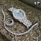 MEN HIP HOP ICED OUT MIGOS BLING WATCH & RING & TENNIS CHAIN BRACELET COMBO SET image