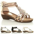 LADIES OPEN TOE FLOWER WEDGE SANDALS,ROSE GOLD SILVER BLACK SIZE 3-8 7572