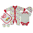 5 Piece Baby Girls Multipack Clothing Gift Set Cute Sweet Fruits in Pink/White