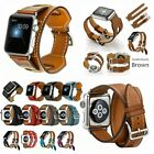 Genuine Leather Band Strap Bracelet Watchband For Apple Watch iWatch 38/42mm image