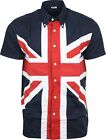 Relco Mens Union Jack Short Sleeved Button Down Shirt