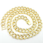 18K W Y Gold Lab CZ Cuban Chain Link Micro Pave Miami NB Iced Out Men Necklace