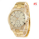 Men's Luxury Dial Gold Stainless Steel Band Analog Quartz Wrist Watch -