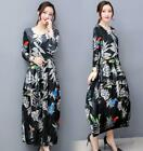 Hot Women Floral Velvet Retro Long Sleeve Loose Maxi Dress Casual Party Work New