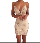 Womens Gold  Sequins mini Dress 2018 New Sexy V-neck Backless Women