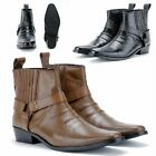 Leather Cowboy Pull On Western Harness Cuban Heel Mens Smart Ankle Boots UK 6-13