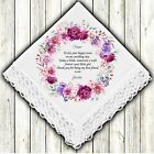 Mother of the Bride Personalised Handkerchief Favour Gift Wreath Flowers Hankie