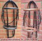 Tack-outt Genuine Leather Padded Bridle with FREE Reins Black Brown Full Cob