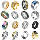 Mens Rings Stainless Steel Brushed Titanium Onyx Signet Wedding Band Couple Ring