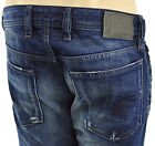 $228 DIESEL JEANS Blue Distressed WAYKEE Mens Regular 0837A Denim NEW COLLECTION