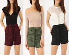 SALE Women Ladies Bow TIE WAIST TAILORED POCKET SHORTS HOLIDAY SUMMER Beach Belt