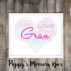 Gran, Grandma, Granny Personalised Word Art Birthday Mother's Day Gift Print