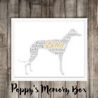 Greyhound Personalised Remembrance Word Art Birthday Gift Print ANY COLOURS