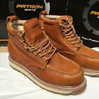 MENS WORK BOOTS MOC TOE GENUINE LEATHER LACE UP SAFETY LIGHT BROWN BOTAS