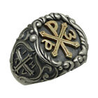 Knights Templar Chi Rho Gold 10K & Silver 925 Alfa Omega  men's Ring US Sizes