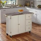NEW Rolling Kitchen Holm Cart Stainless Steel Counter Top Wood Storage Cabinet