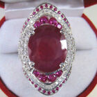 Luxury Ruby Turkish Collection 925 Silver Plated Filled Zircon Crstal Rings Gift