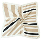 "L8 woman Square 27X27"" SCARF Stripe border bandana wrap satin high quality"