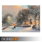 VILLAGE IN WINTER PAINTING (AE076) NATURE POSTER - Poster Print Art A0 A1 A2 A3