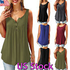 Women Casual Ladies Sleeveless V-Neck Vest Loose Tops T-shir