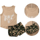 USA Newborn Toddler Baby Boys Girls Sleeveless Tops+Shorts Kid Clothes Outfits