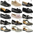 WOMENS LADIES GIRLS NEW FLAT OFFICE SCHOOL SHOES SMART FORMAL LOAFERS PUMPS SIZE