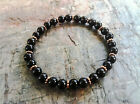 Black Obsidian & Copper Beaded Shamballa Stretch Bracelet Women/Men