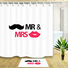 mustache shower curtain - Mr. and Mrs. with mustache and lips Shower Curtain Bathroom Fabric
