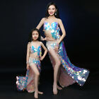 Sexy Colored Sequins Bling Professional Belly Dance Costumes Bra&Skirt M L