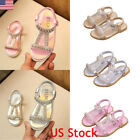 kids gold shoes - Kids Girls Summer Holiday Crystal Sandals Infant Princess Elastic Flat Shoes New