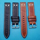 Italian Vintage Oily Cowhide Black or Brown Watch Strap for All Watches 20 22mm