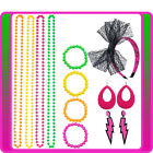 80s Party Neon Bracelet Necklace Headband Earring Hot Pink C