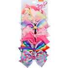 "6pcs/Set 5.5"" Rainbow Grosgrain Ribbon Hair Bow With Clip For Girls Kids Bowknot"