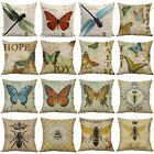 "18"" Butterfly Bees Home Cotton Linen Bed Decor Pillow Case Waist Cushion Cover"