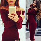 US Sexy Women Off Shoulder Long Sleeve Knitted Jumper Bodycon Club Sweater Dress