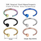 100PCS Nose Ring Hoop Surgical Steel Open Segment Bar 20G Body Piercing Jewelry image