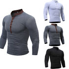 USA Fashion Men's Slim Autumn Long Sleeve Muscle Tee T-shirt Casual Tops Blouse image