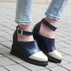 Womens Strap Color Block Hidden Wedge Mid Heels Oxfords Buckle Platform Shoes Sz