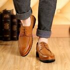 Retro Men Casual Lace up Breathable Shoes Business Formal Pointed Toe Oxford